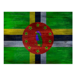 Dominica distressed flag postcard