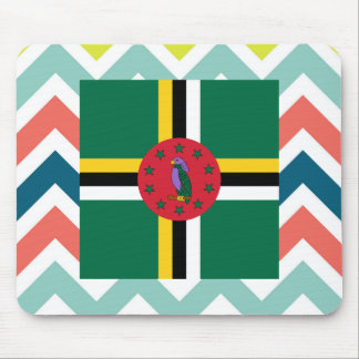 Dominica Flag Box on Colorful Chevron Mouse Pad