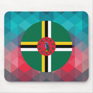 Dominica flag circle on modern bokeh mouse pad