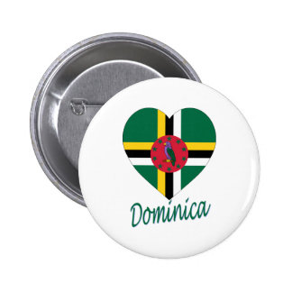 Dominica Flag Heart Buttons