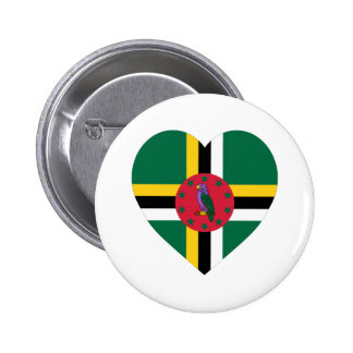 Dominica Flag Heart Pinback Buttons