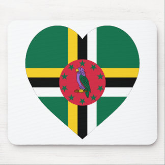 Dominica Flag Heart Mouse Pad