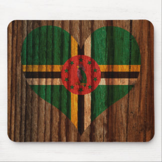 Dominica Flag Heart on Wood theme Mouse Pad