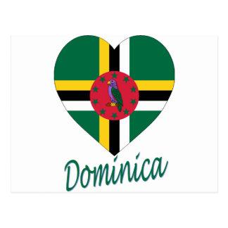 Dominica Flag Heart Postcard