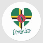 Dominica Flag Heart Round Stickers