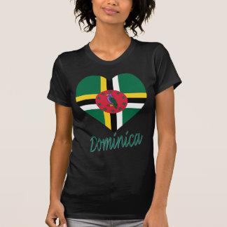 Dominica Flag Heart T Shirt