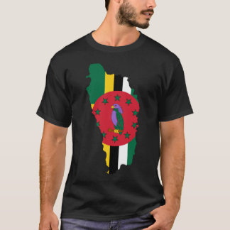 Dominica Flag map DM T-Shirt