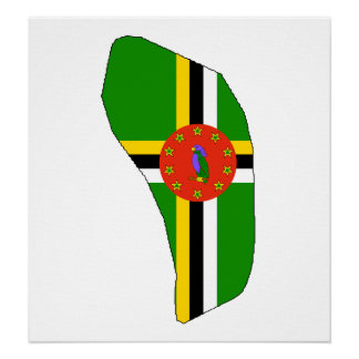 Dominica Flag Map full size Poster