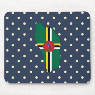 dominica Flag Map on Polka Dots Mouse Pad