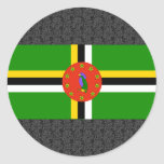 Dominica Flag Round Stickers