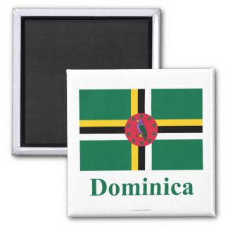 Dominica Flag with Name 2 Inch Square Magnet