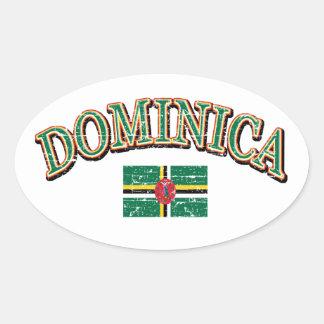 Dominica football design oval sticker