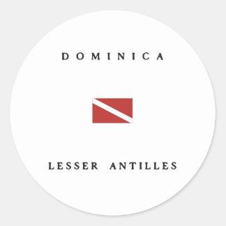 Dominica Lesser Antilles Scuba Dive Flag Round Sticker