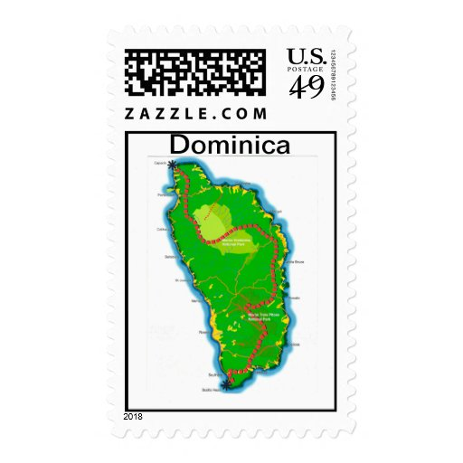 dominica  map stamp