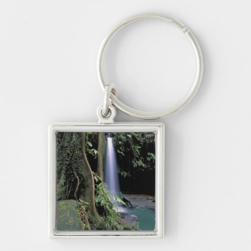 Dominica, piscina esmeralda, cascada llavero cuadrado plateado