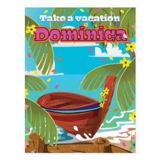 Dominica retro travel poster. postcard