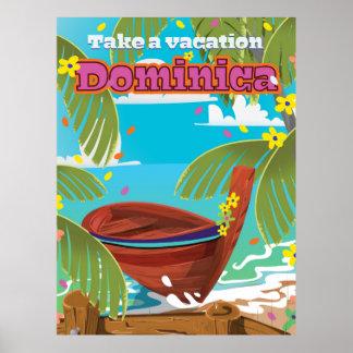 Dominica retro travel poster. poster