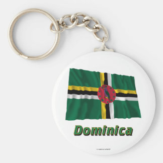 Dominica Waving Flag with Name Keychain