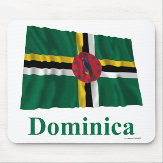 Dominica Waving Flag with Name Mouse Pad