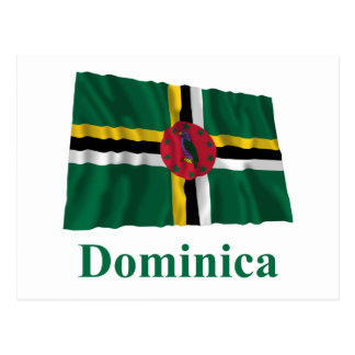Dominica Waving Flag with Name Postcard