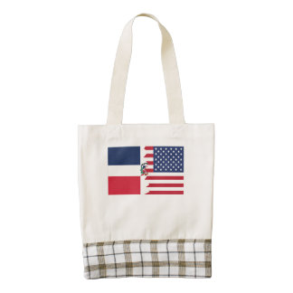 Dominican American Flag Zazzle HEART Tote Bag