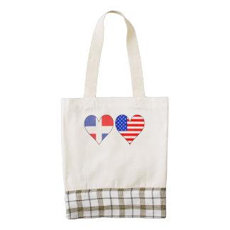 Dominican American Hearts Zazzle HEART Tote Bag