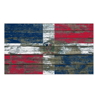 Dominican Flag on Rough Wood Boards Effect Business Card