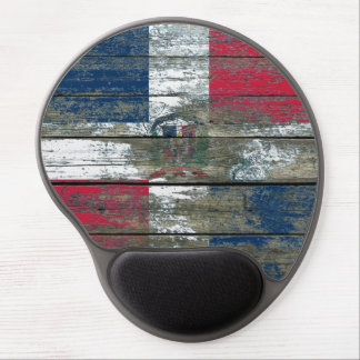 Dominican Flag on Rough Wood Boards Effect Gel Mouse Pad