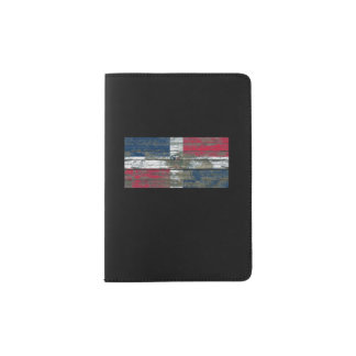 Dominican Flag on Rough Wood Boards Effect Passport Holder