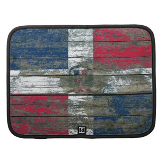 Dominican Flag on Rough Wood Boards Effect Planners