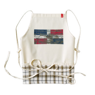 Dominican Flag on Rough Wood Boards Effect Zazzle HEART Apron