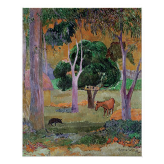Dominican Landscape or Landscape with a Pig Poster