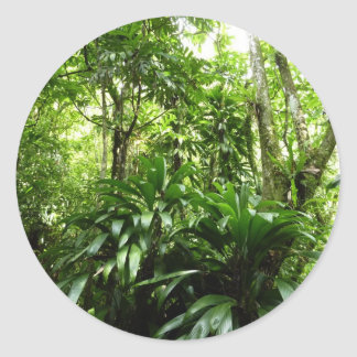 Dominican Rain Forest I Tropical Green Nature Classic Round Sticker