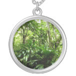 Dominican Rain Forest I Tropical Green Nature Silver Plated Necklace