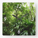 Dominican Rain Forest I Tropical Green Nature Square Wall Clock