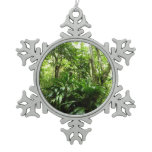 Dominican Rain Forest I Tropical Green Snowflake Pewter Christmas Ornament