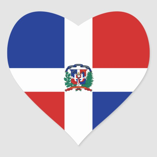 Dominican Rep. Flag Heart Sticker