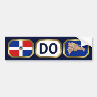 Dominican Rep. Flag Map Code Bumber Sticker