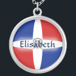 """Dominican Rep. Flag   Name Necklace<br><div class=""""desc"""">The design for this attractive pendant features a name overlying the Dominican Republic flag, which has been neatly morphed to fit the round shape. The featured name can be changed to any name or text of your choice, creating a personalized gift for someone who loves the Dominican Republic. &#169; 2011...</div>"""