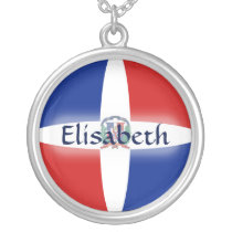 Dominican Rep. Flag   Name Necklace