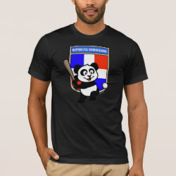 Men's Basic American Apparel T-Shirt with Dominican Republic Baseball Panda design