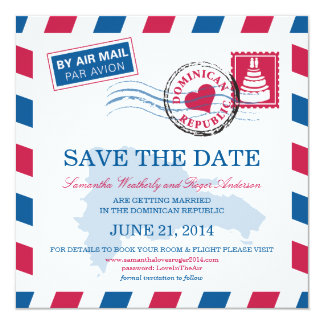 Dominican Republic Air Mail Wedding Save The Date Card