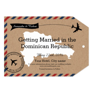 Dominican Republic Airmail Luggage Tag Save Dates Card