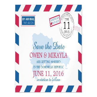 Dominican Republic Airmail | Save the Date Magnetic Card