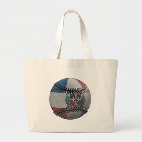Dominican Republic Baseball Large Tote Bag