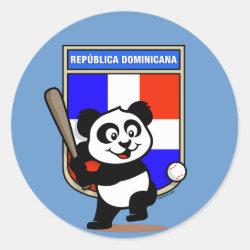 Round Sticker with Dominican Republic Baseball Panda design