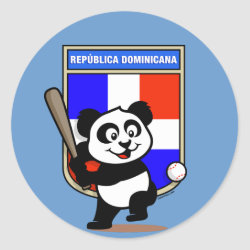 Round Sticker with Dominican Republic Baseball Panda design