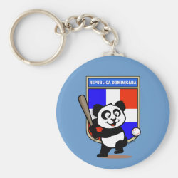 Basic Button Keychain with Dominican Republic Baseball Panda design