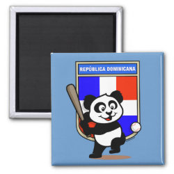 Square Magnet with Dominican Republic Baseball Panda design