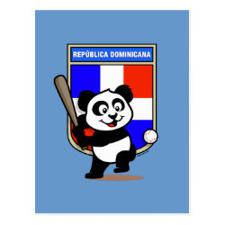 Postcard with Dominican Republic Baseball Panda design